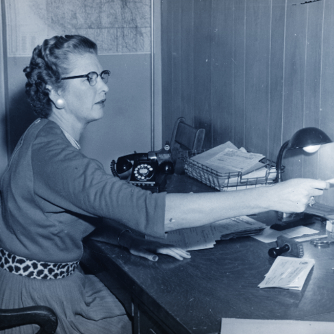 historic image of rsl receptionist circa 1950s